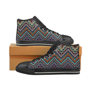 Zigzag African Afro Dashiki Adinkra Kente Men's High Top Shoes Black (Made In USA)
