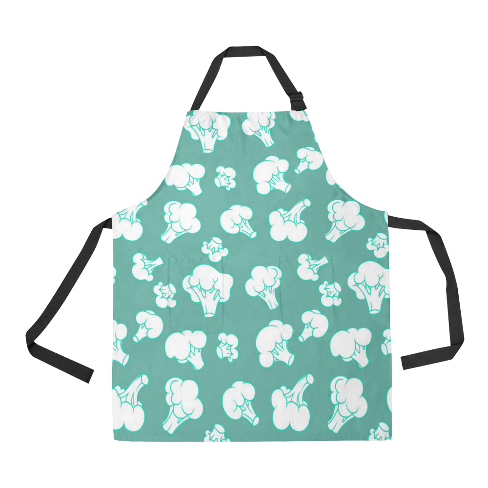 Broccoli Pattern Green background Adjustable Apron