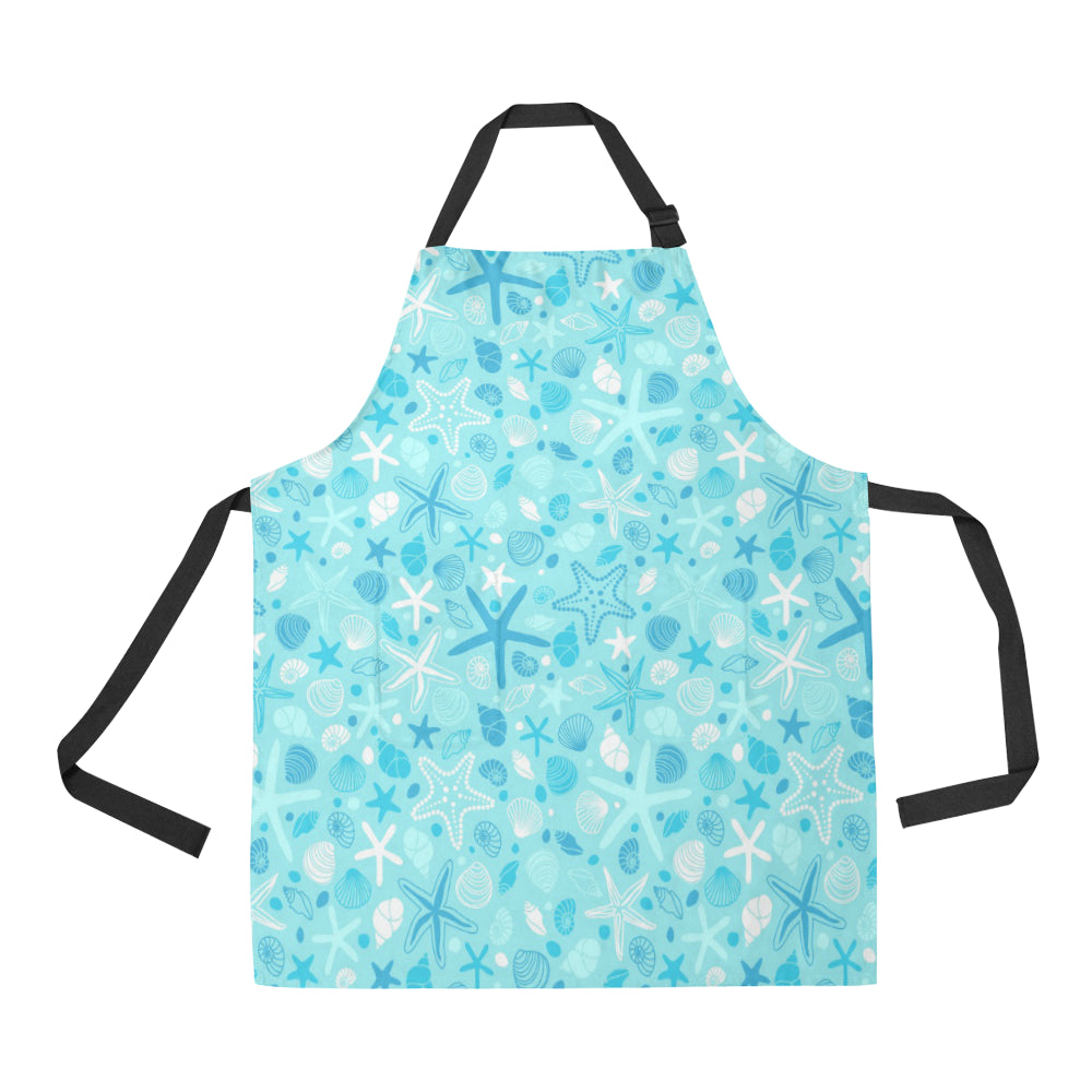 Starfish Shell Blue Theme Pattern Adjustable Apron