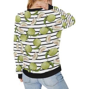 Guava Pattern Stripe background Women's Crew Neck Sweatshirt