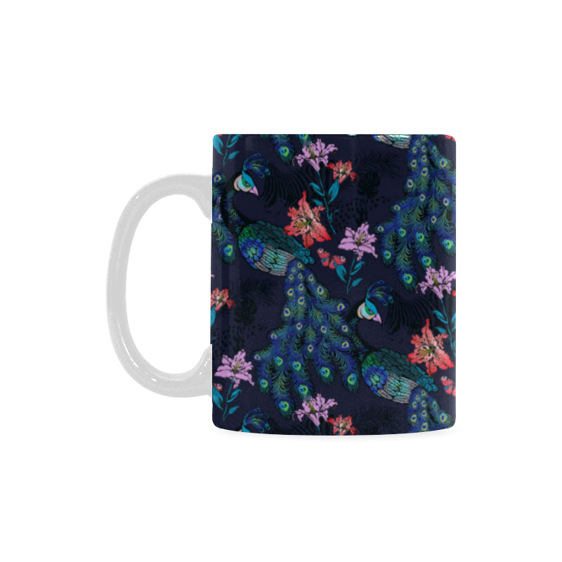 Peacock Feather Pattern Classical White Mug (FulFilled In US)