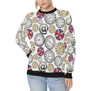 Wall Clock UK Pattern Women's Crew Neck Sweatshirt