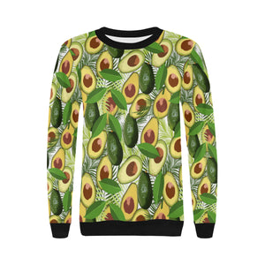Avocado Leaves Pattern Women's Crew Neck Sweatshirt
