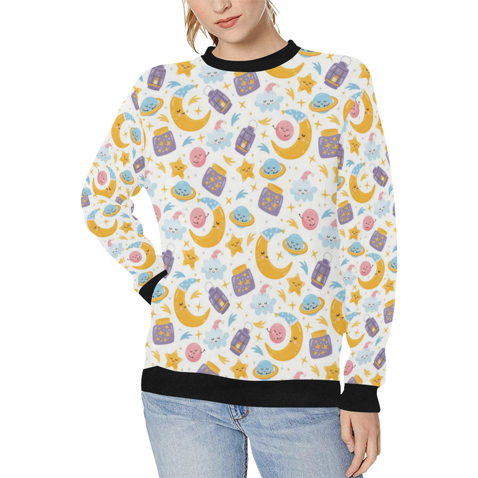 Moon Sleep Pattern Women's Crew Neck Sweatshirt