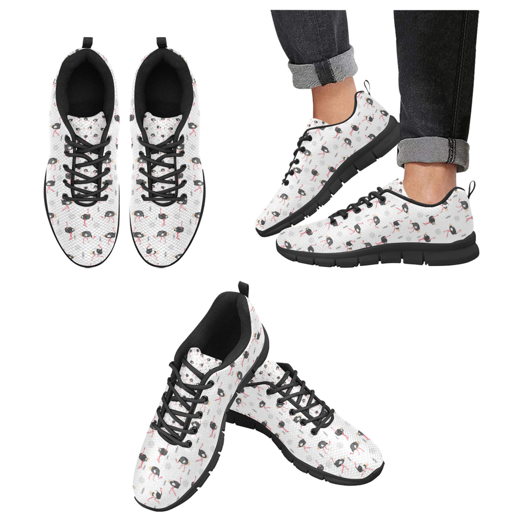 Ostrich Pattern Print Design 02 Men's Sneakers Black