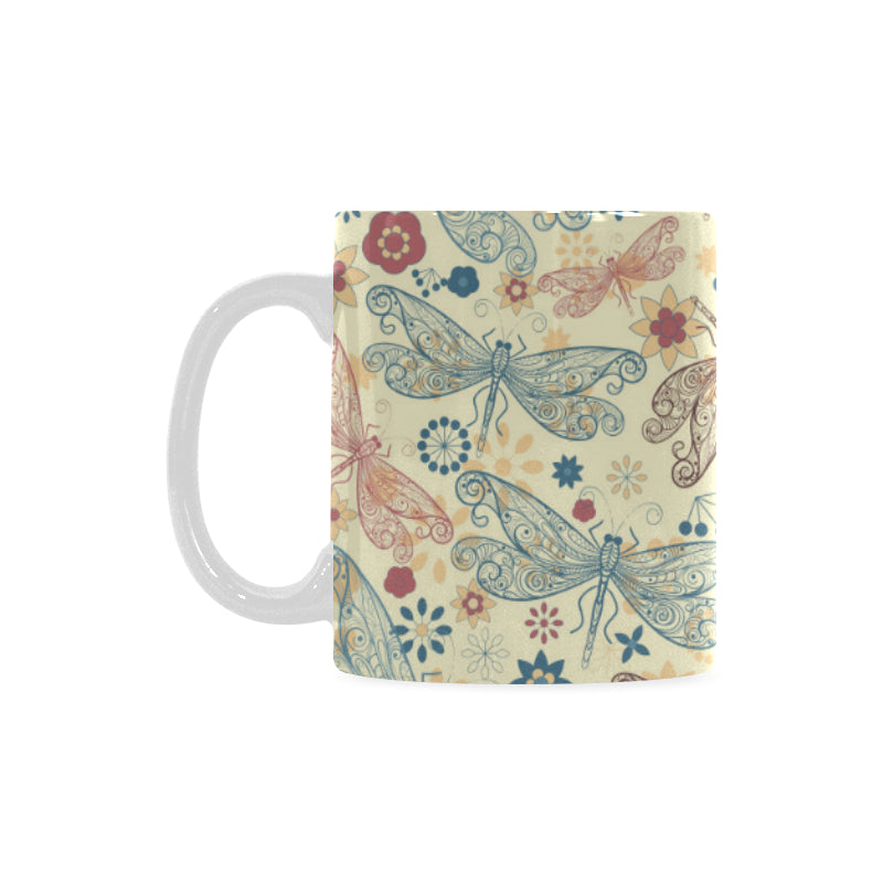 Dragonfly Flower Pattern Classical White Mug (FulFilled In US)