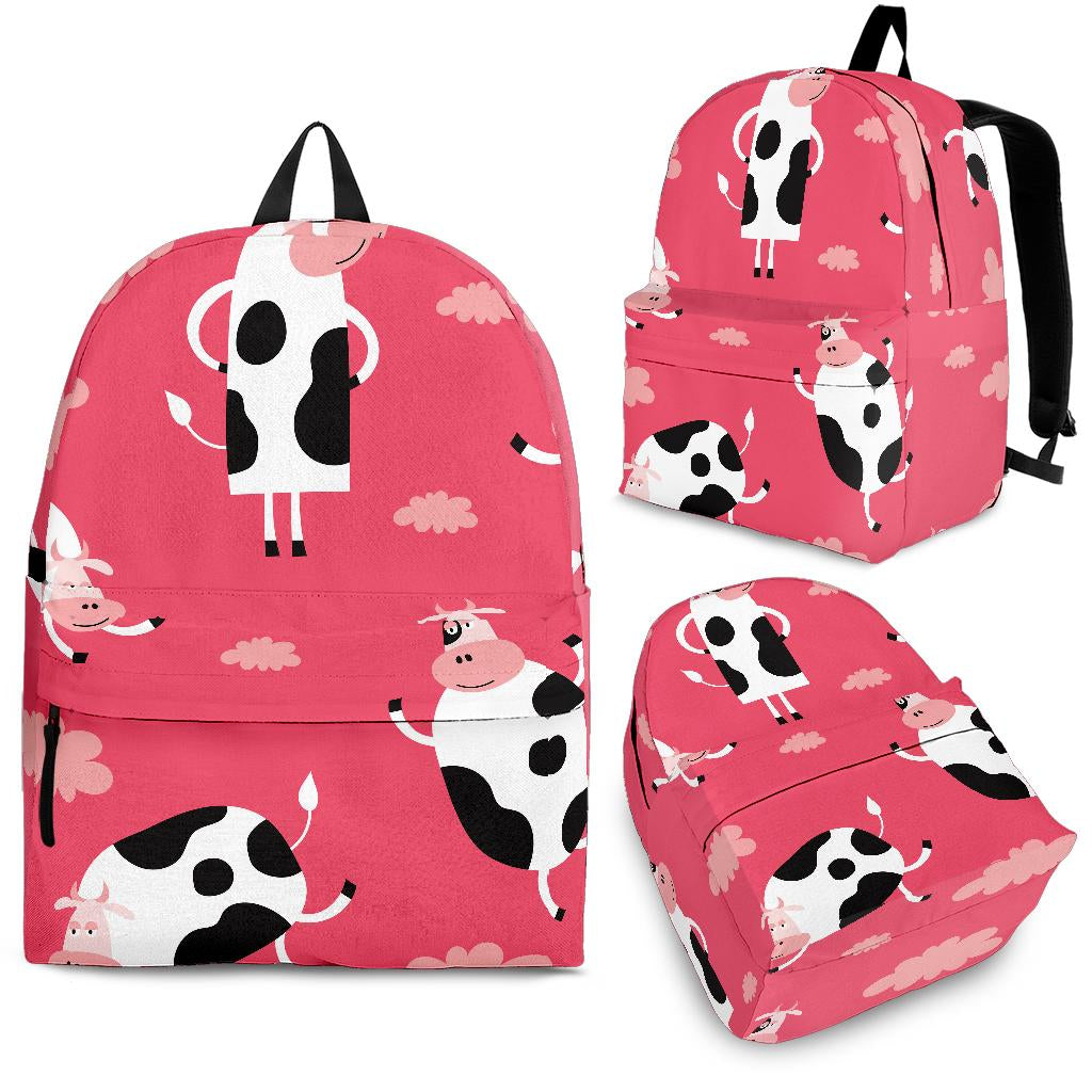 Cow Pattern Pink Background Backpack