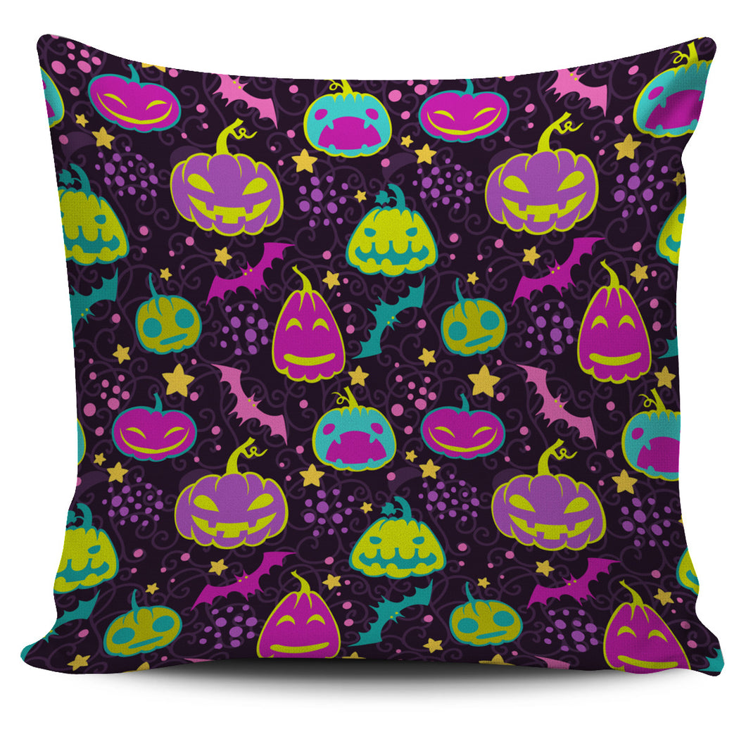 Halloween Pumpkin Bat Pattern Pillow Cover