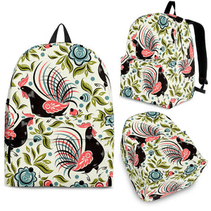 Rooster Chicken Leaves Pattern Backpack