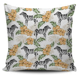 Zebra Hibiscus Pattern Pillow Cover