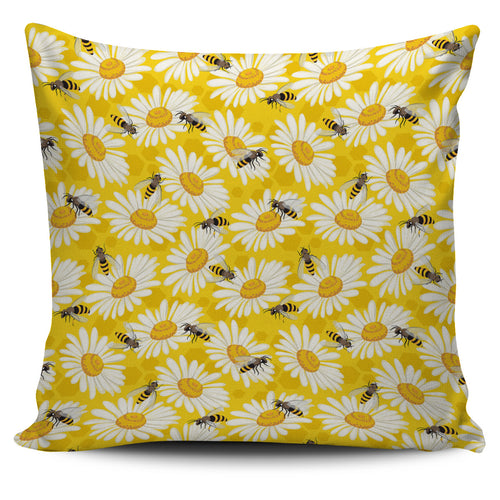 Bee Daisy Pattern Pillow Cover