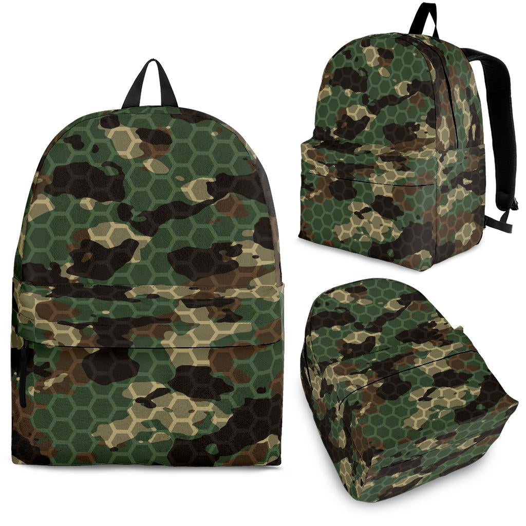 Green Camo Camouflage Honeycomb Pattern Backpack