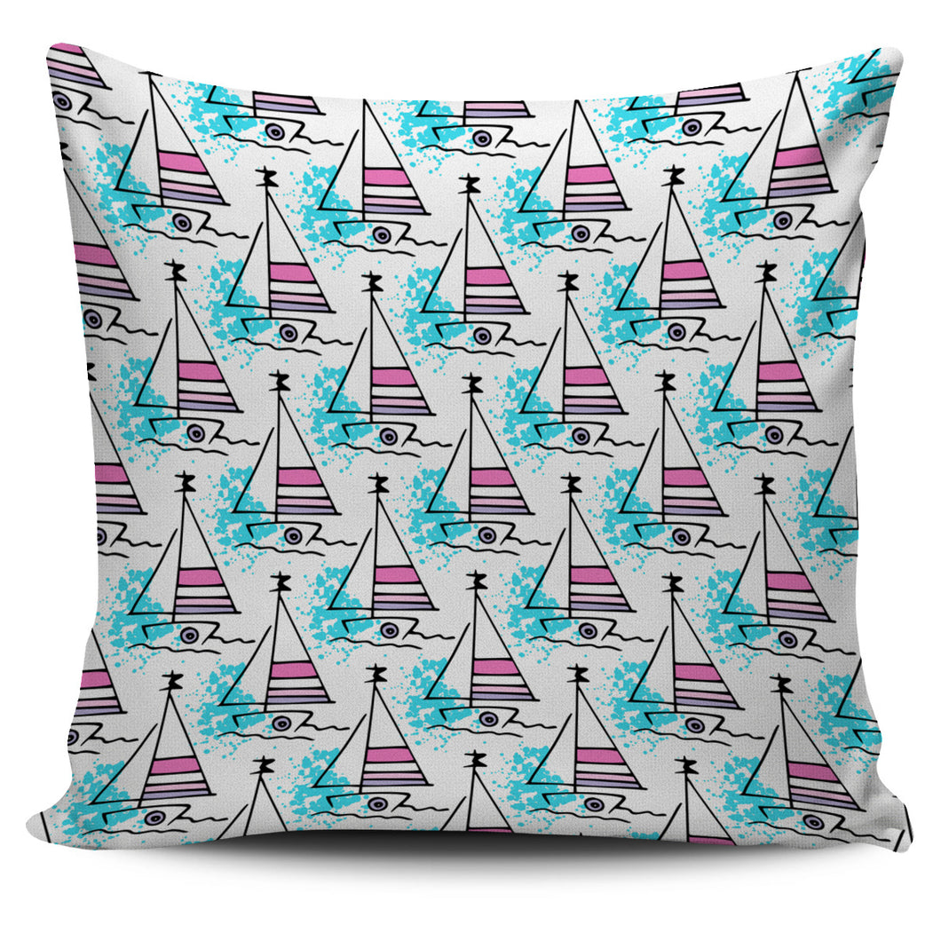 Sailboat Pattern Pillow Cover