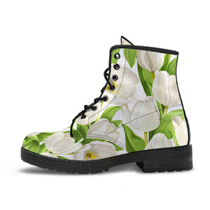 White Tulip Pattern Leather Boots