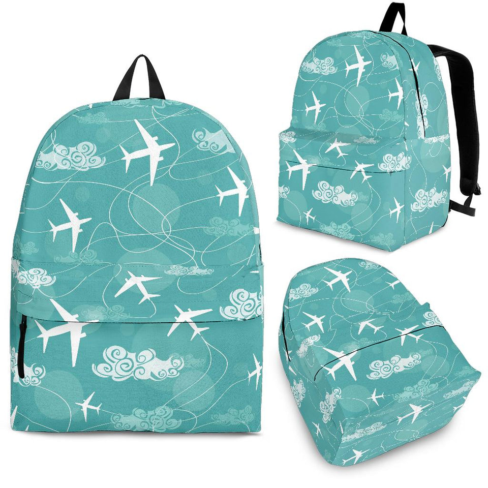 Airplane Cloud Pattern Green Background Backpack