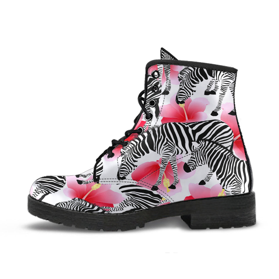 Zebra Red Hibiscus Pattern Leather Boots
