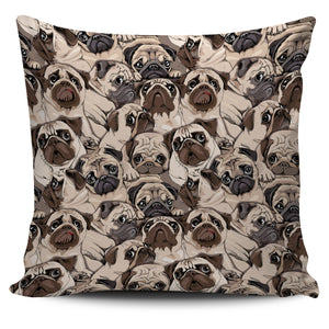 Pug Pattern Background Pillow Cover