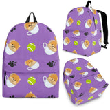 Pomeranian in Cup Pattern Backpack