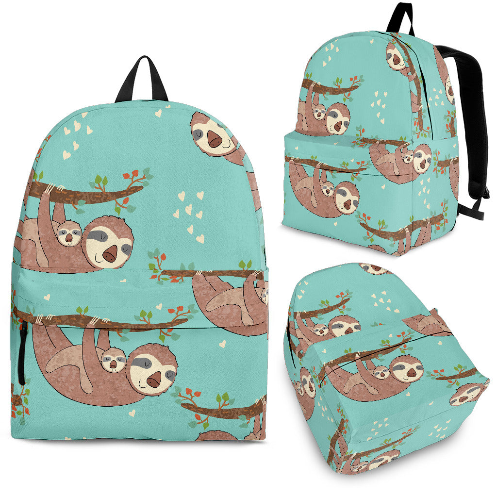 Sloth Mom and baby Pattern Backpack