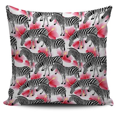 Zebra Red Hibiscus Pattern Pillow Cover