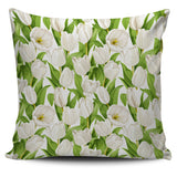 White Tulip Pattern Pillow Cover