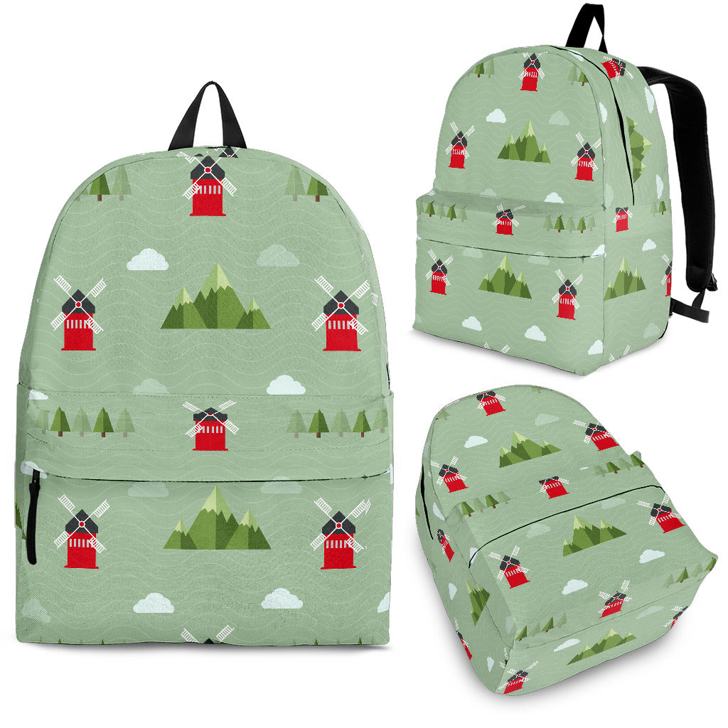 Windmill Green Pattern Backpack