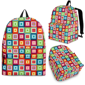 Rainbow Rectancular Pattern Backpack