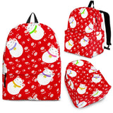 Meneki Neko Lucky Cat Pattern Red Background Backpack