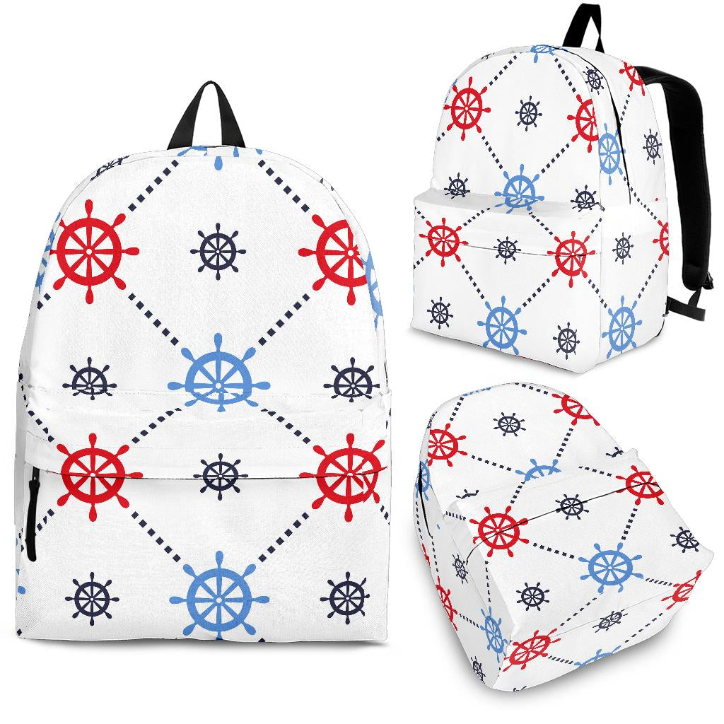 Nautical Steering Wheel Rudder Pattern Backpack
