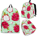 Dragon Fruit Pattern Green Background Backpack