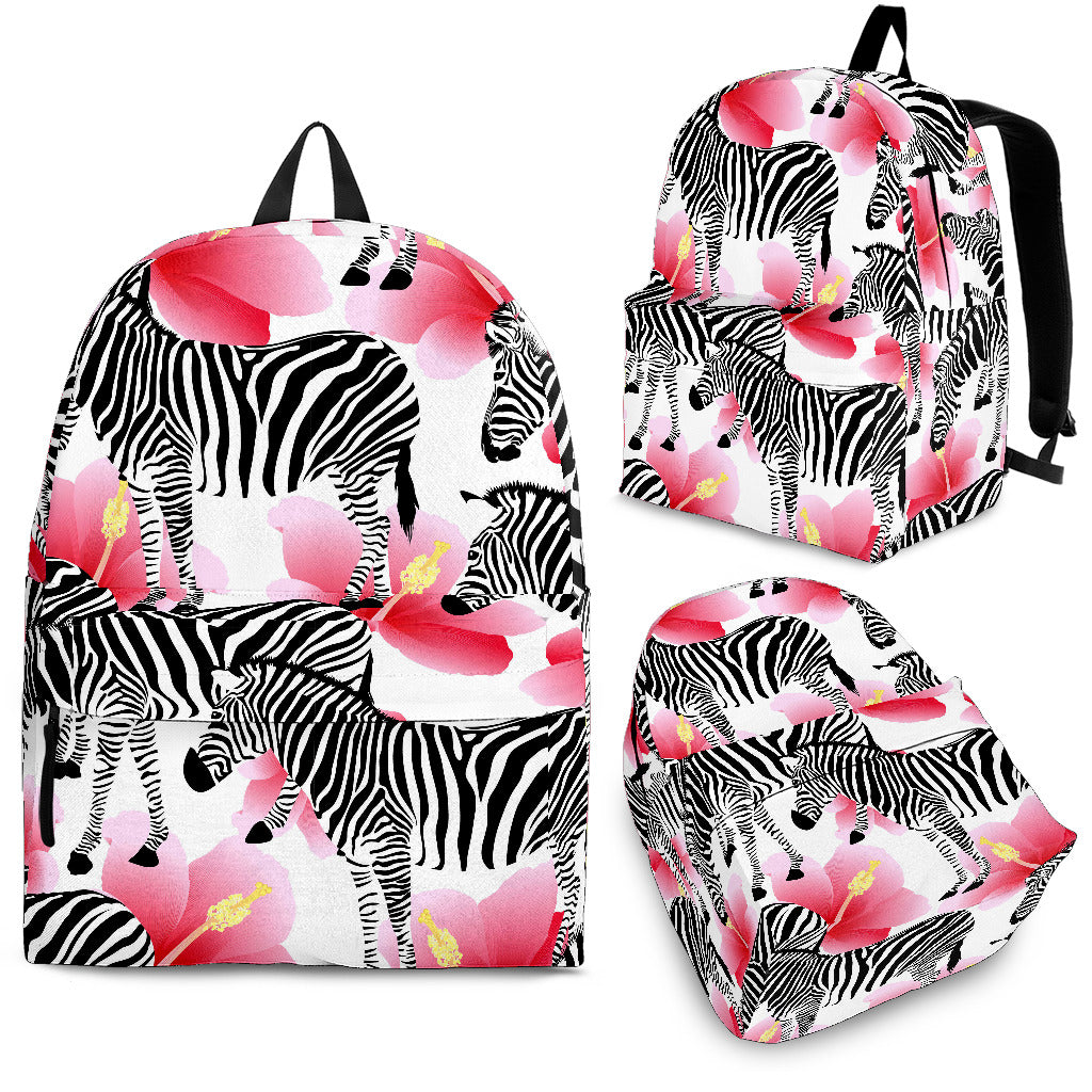 Zebra Red Hibiscus Pattern Backpack