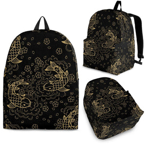 Gold Koi Fish Carp Fish Pattern Backpack