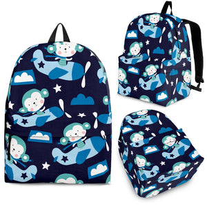 Monkey in Airplane Pattern Backpack