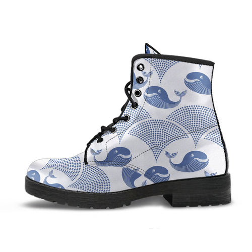 Whale Pattern Leather Boots