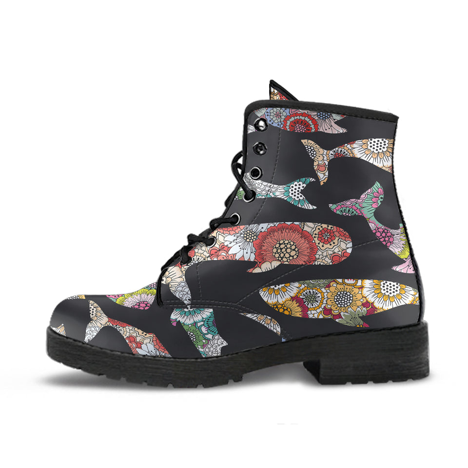 Whale Flower Tribal Pattern Leather Boots