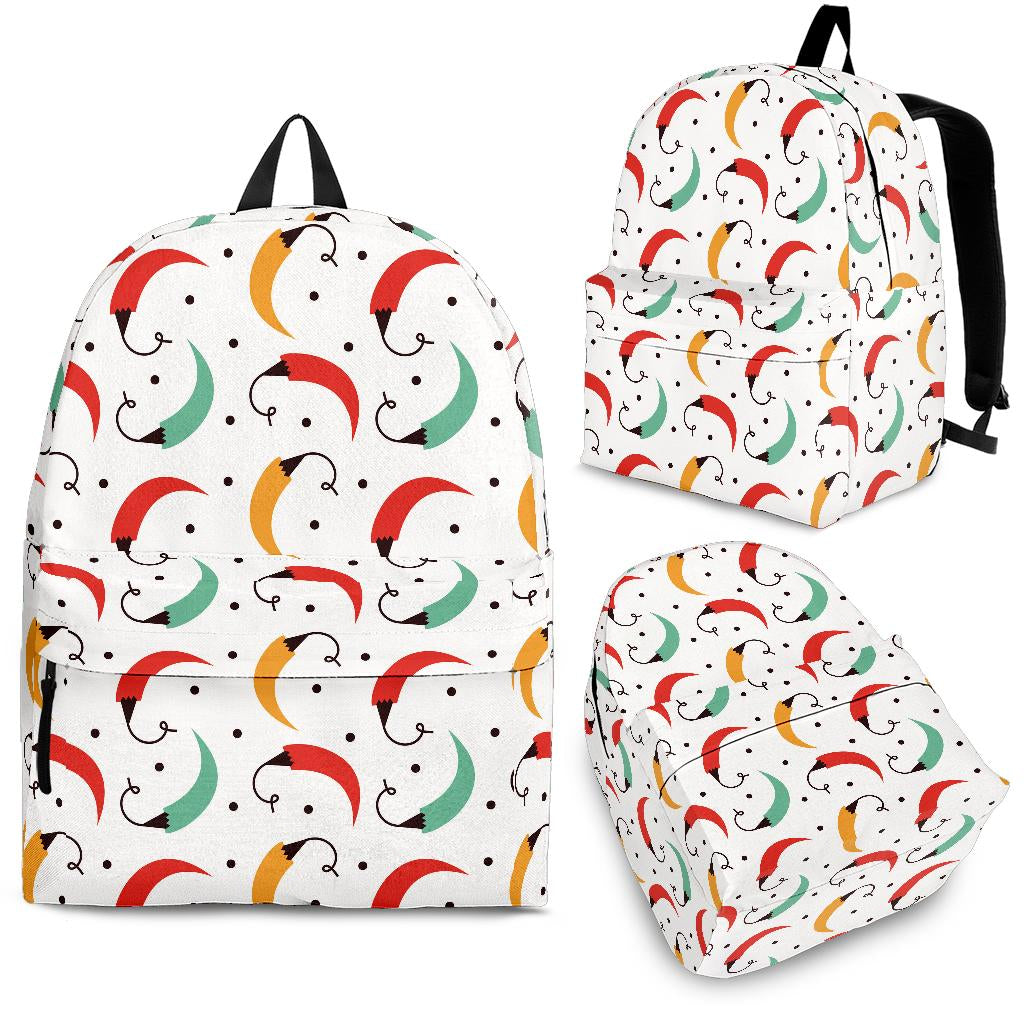Red Green Yellow Chili Pattern Backpack