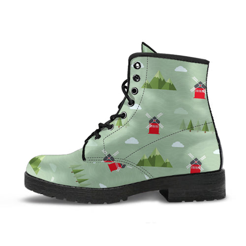 Windmill Green Pattern Leather Boots