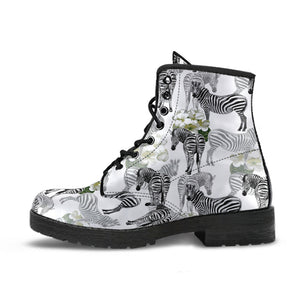 Zebra Pattern Leather Boots