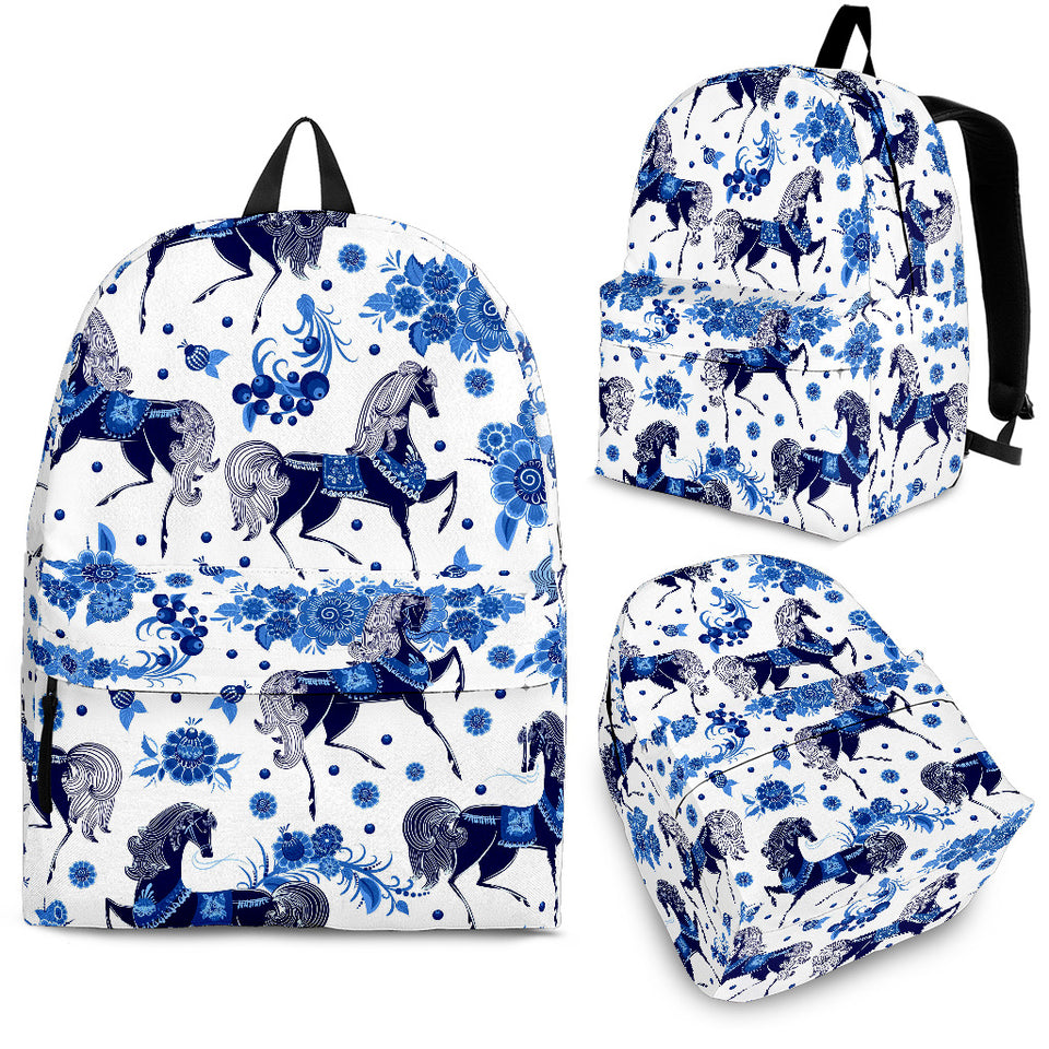 Horse Flower Blue Theme Pattern Backpack