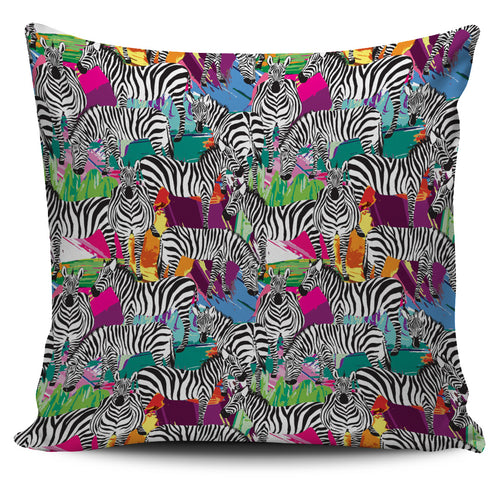 Zebra Colorful Pattern Pillow Cover