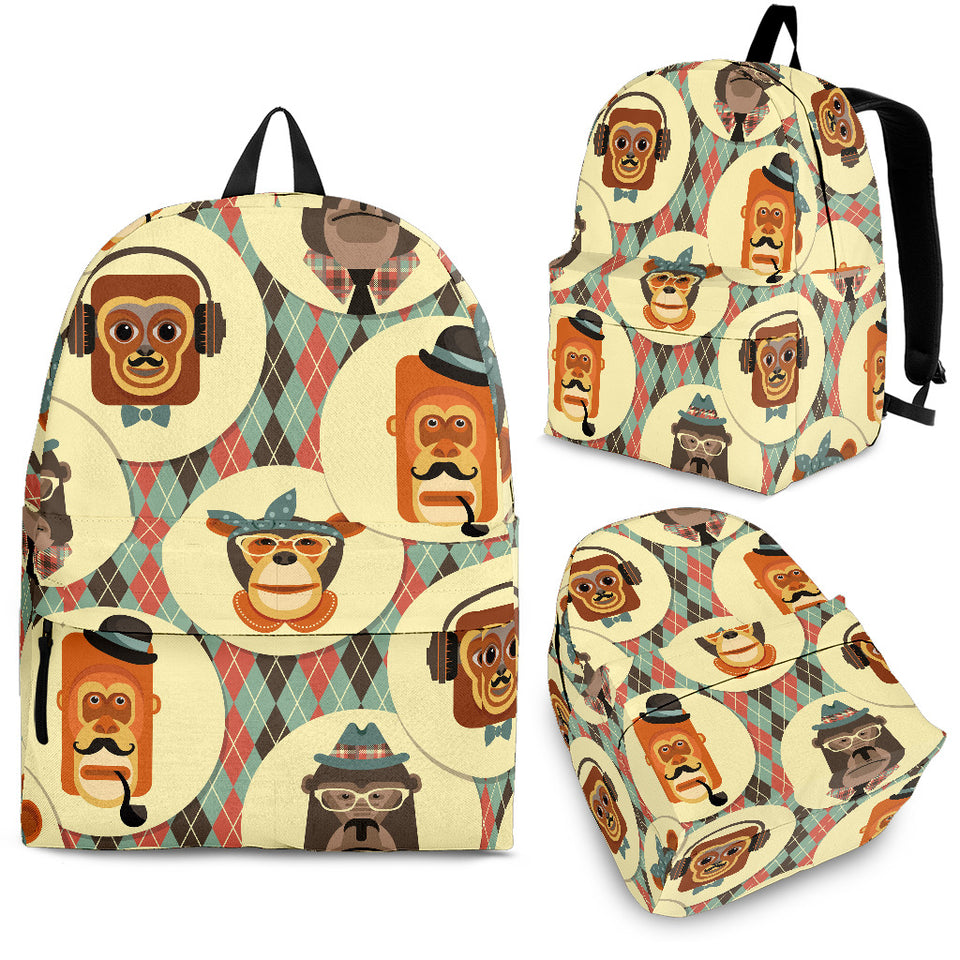 Monkey Pattern Backpack