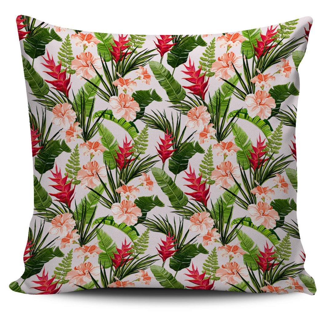 Heliconia Hibiscus Leaves Pattern Pillow Cover