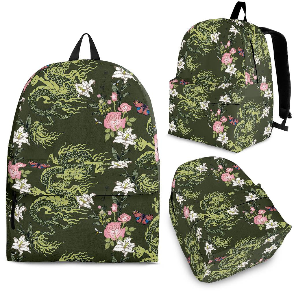 Green Dragon Rose Flower Pattern Backpack