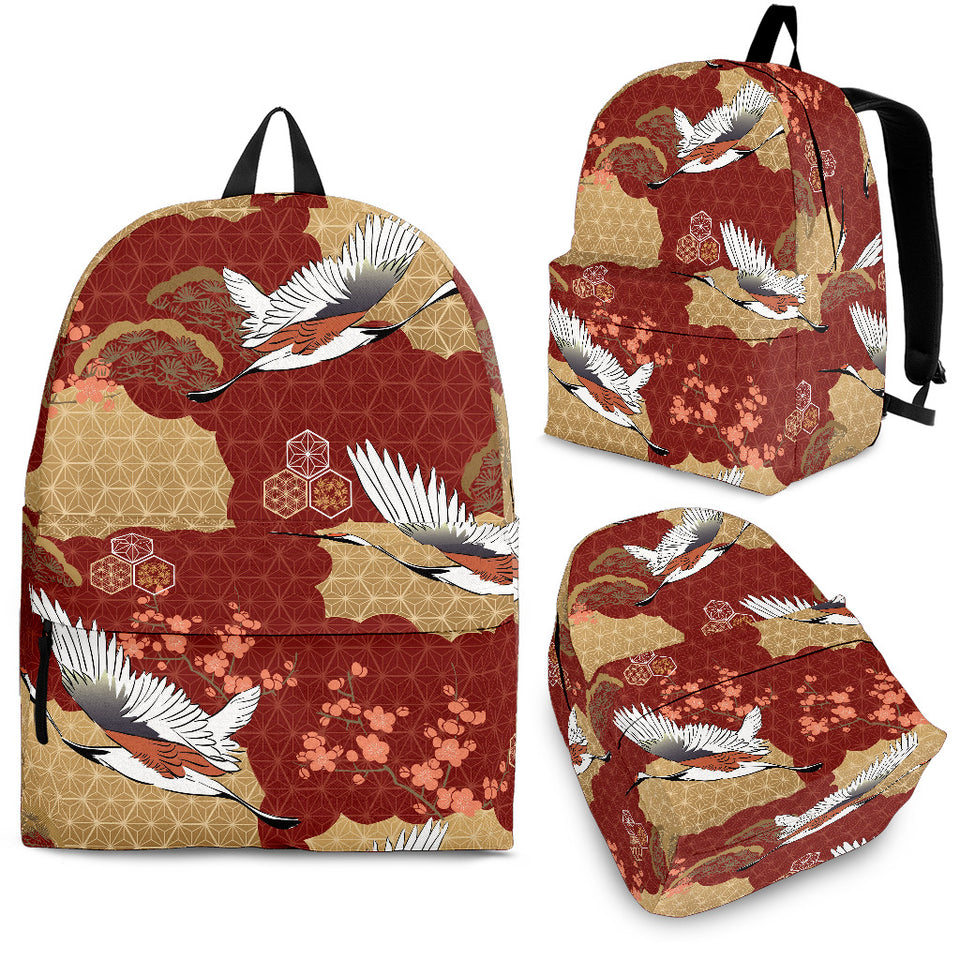 Japanese Crane Theme Pattern Backpack