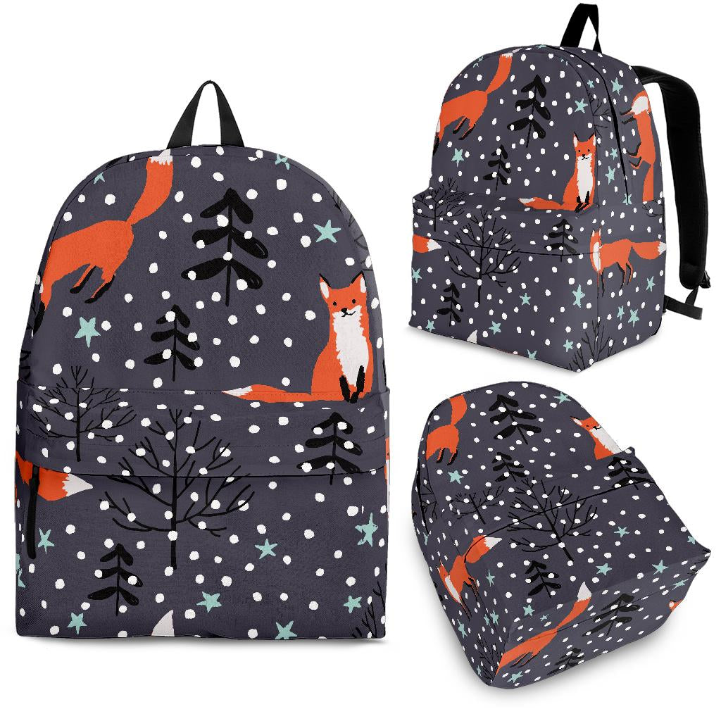 Fox Snow Winter Pattern Backpack