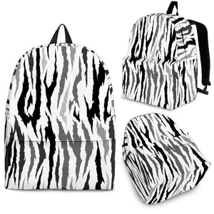 Gray Bengal Tiger Pattern Backpack