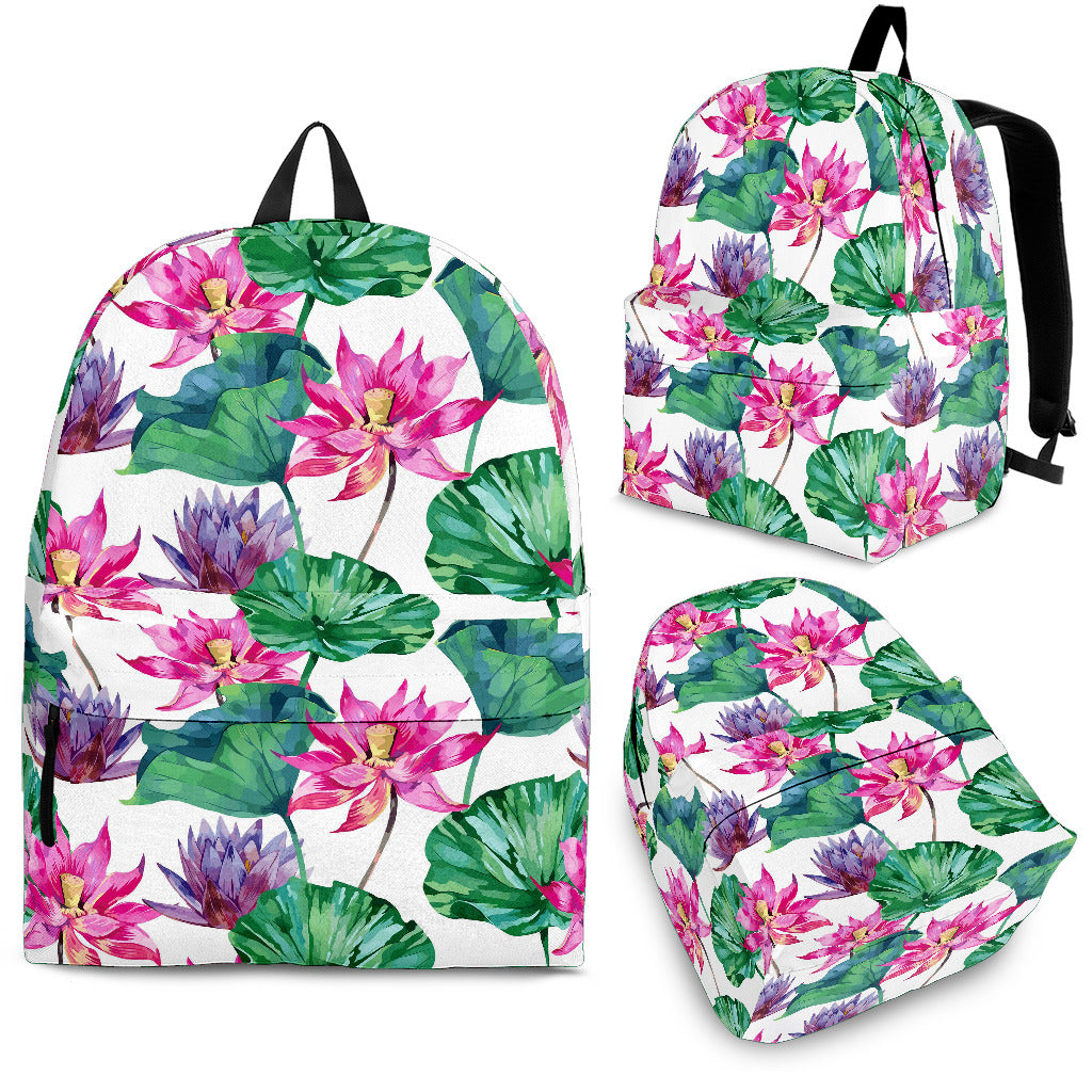 Pink Lotus Waterlily Pattern Backpack