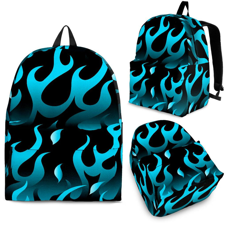 Blue Flame Fire Pattern Background Backpack