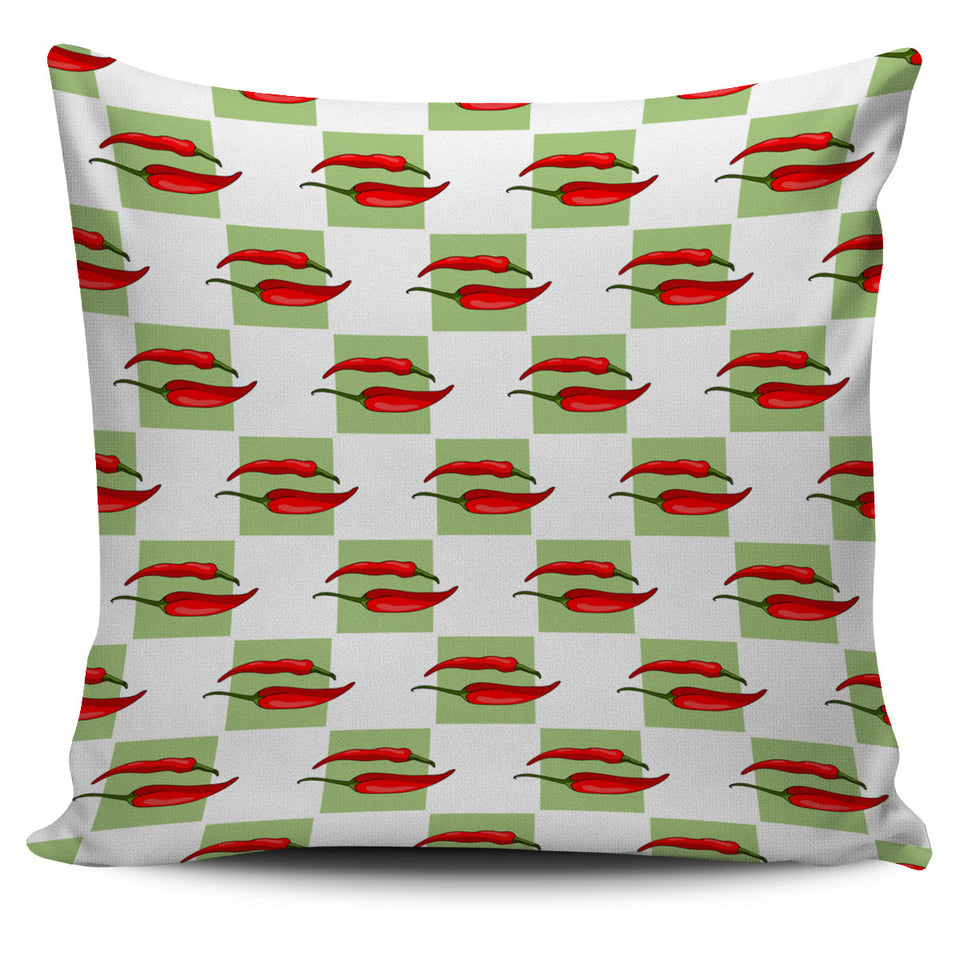 Red Chili Pattern Green White background Pillow Cover