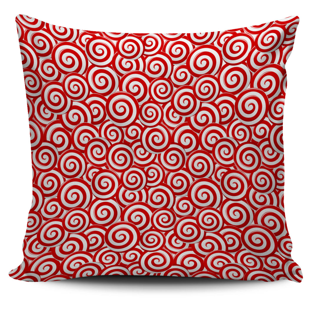 Red and White Candy Spiral Lollipops Pattern Pillow Cover